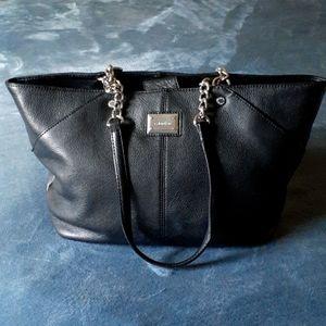 CALVIN KLEIN Black Leather Shoulder Bag